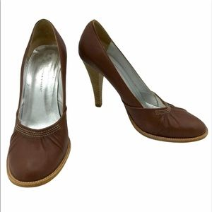 Cynthia Vincent Leather Round Toe Pumps
